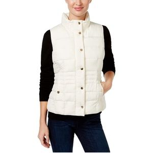 Cream Charter Club Womens Casual Quilted Vest-L